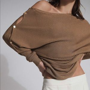 REISS RIBBED BLOOR TOP in camel nwot small